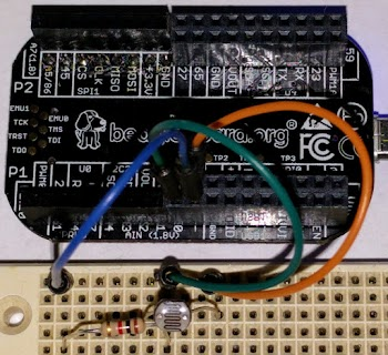 A photocell can be hooked up to the PocketBeagle's analog input to provide a light sensor.