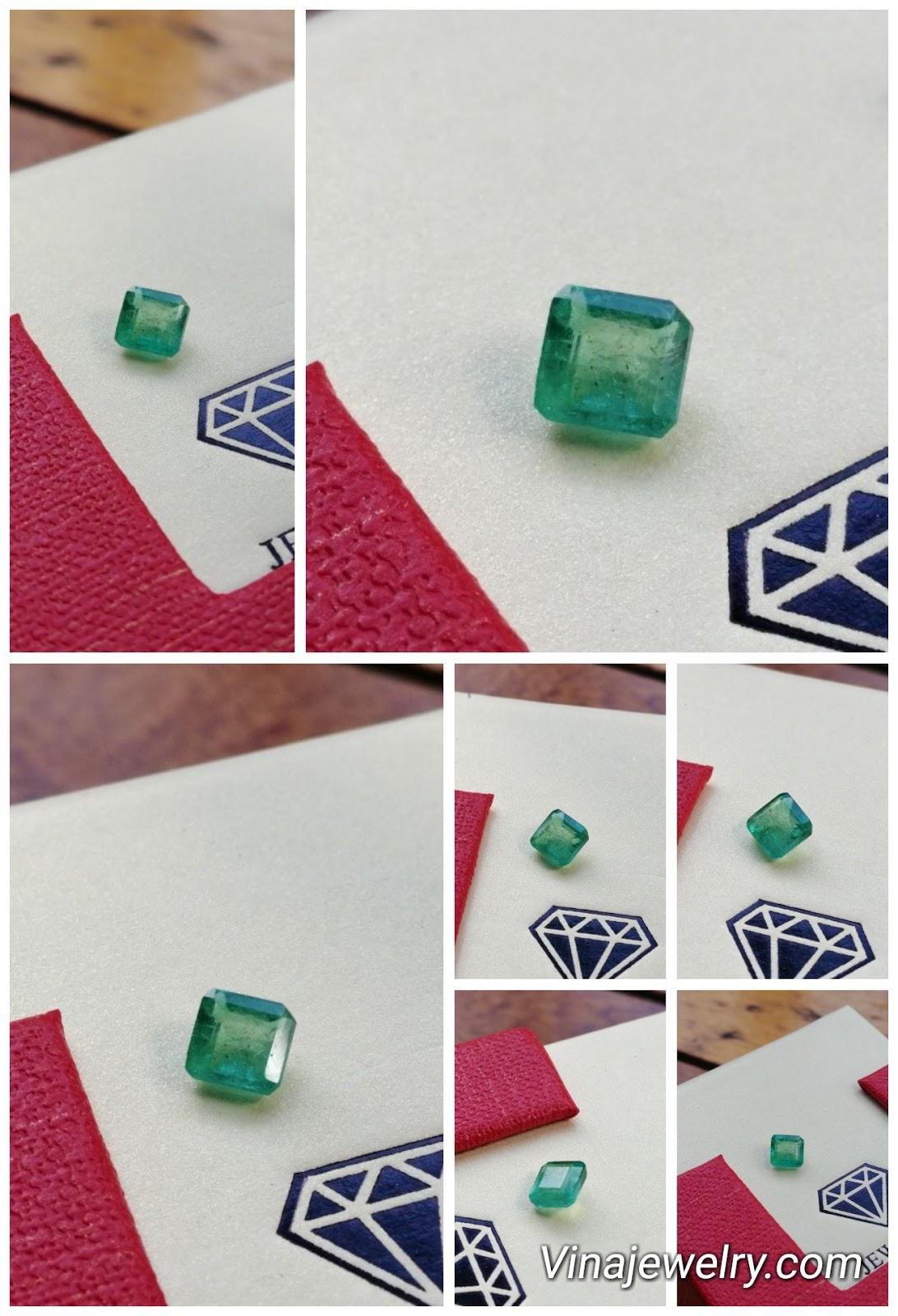 Đá Ngọc Lục Bảo thiên nhiên, Natural Emerald 0.8cts hình vuông xanh đẹp