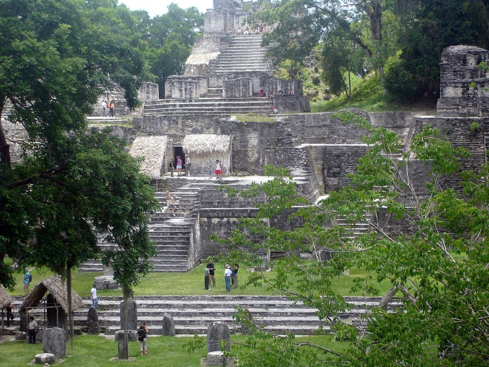 Tourist mega-hoards scattered throughout Tikal's main plaza...