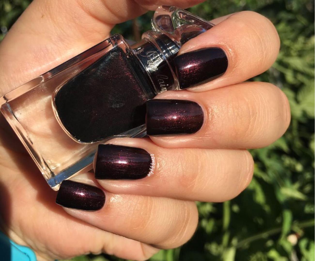 Guerlain Black Perfecto Nail Swatch Autumn Burgundy Black Manicure Review