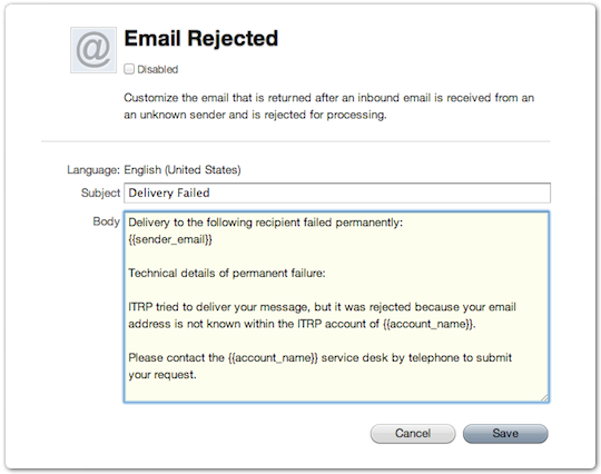 Email template for rejected email