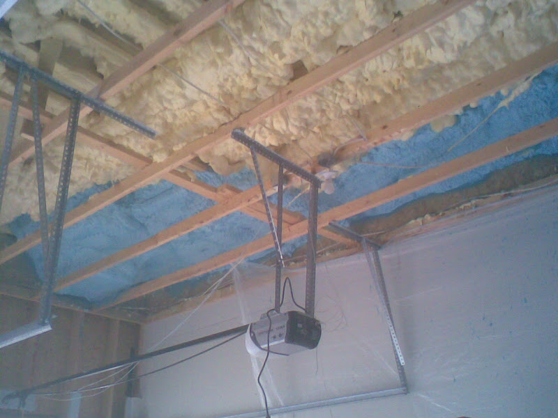 Foam Insulation Applied In Between Ceiling Joist Wall Framing Exposed Too For The