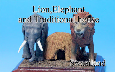 Lion,Elephant & Traditional house ‐Kingdom of eSwatini‐