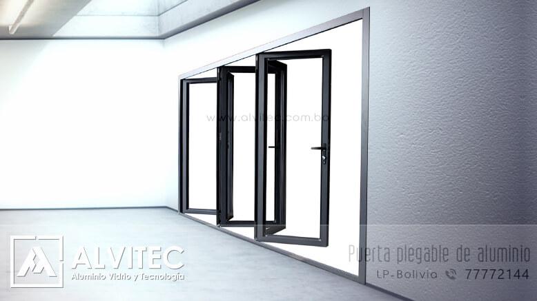 Puerta plegable con estructura de aluminio