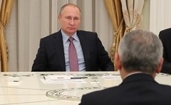 Vladimir Putin and Binali Yildirim in Moscow.