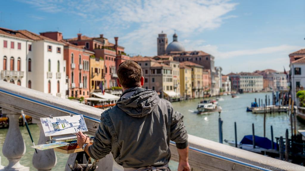 Venice bridge artist