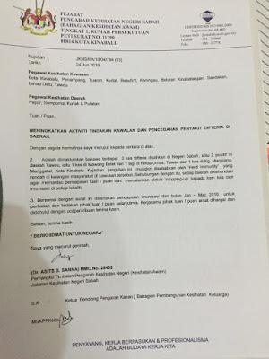 Wabak Difteria disahkan di Sabah