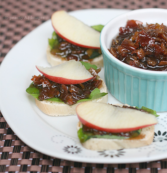 Bacon Jam Crostini with Arugula and Apple