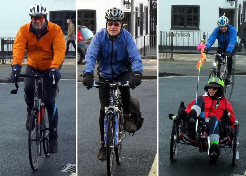 Triptych showing 3 arrivals on bikes