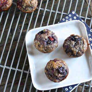 Peach + Blueberry + Vanilla Bean Mini Muffin.