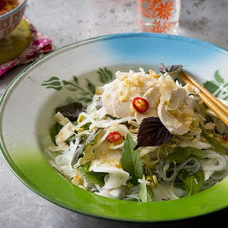 Poached chicken salad with young coconut, vermicelli and Vietnamese mint.
