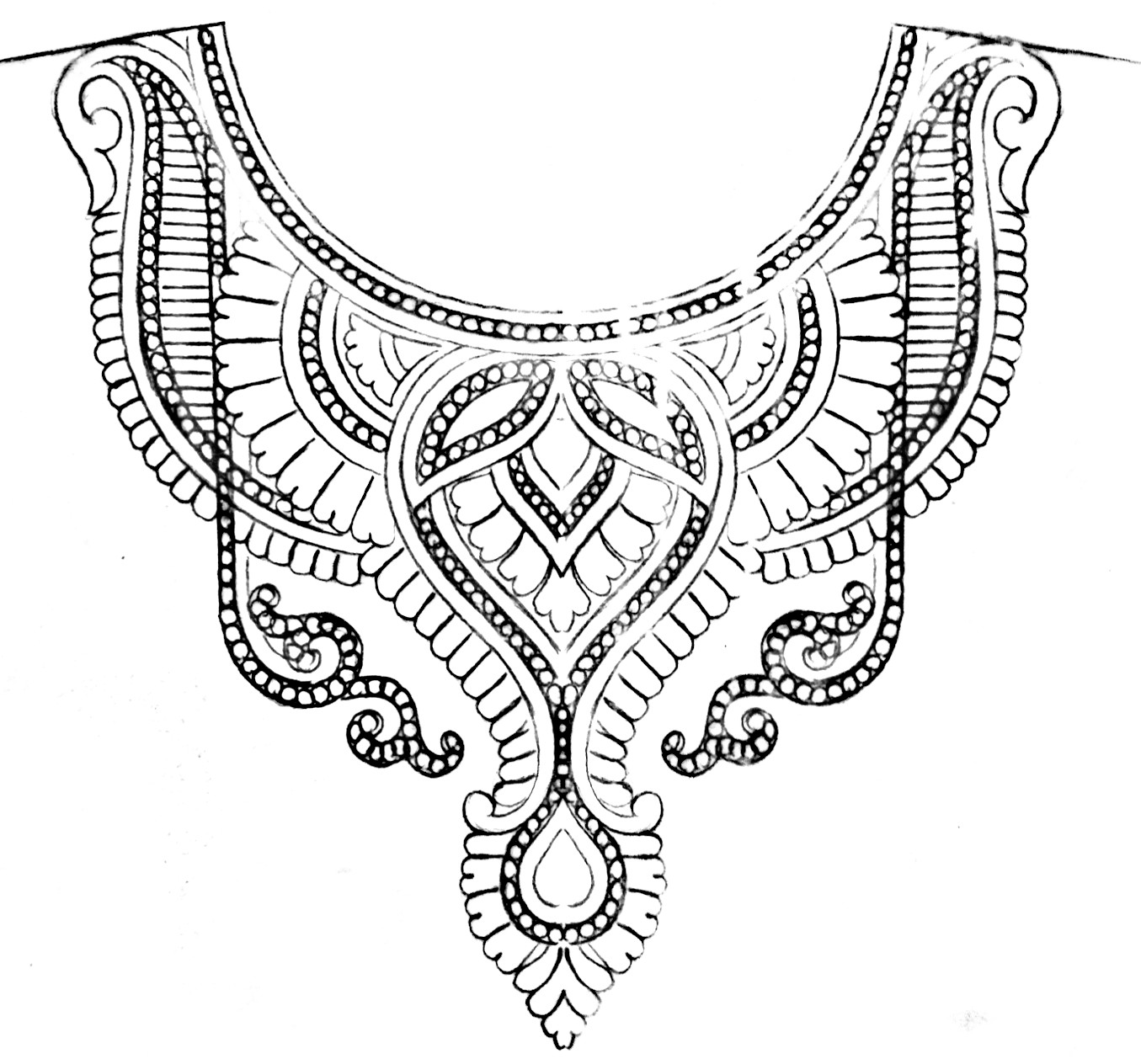 Neck design drawing for embrodiary / hand embroidery and machine emroidery work neck design patterns sketches free