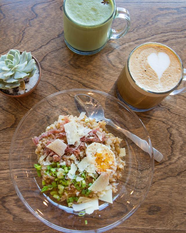 overhead photo of Savory Porridge, The Woods, Green Tea Chai Latte