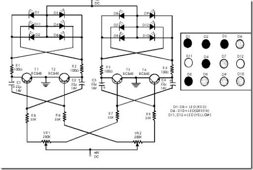 simple circuit of flashing dancing led light citcuit diagram rh simple schematic blogspot com dancing led circuit diagram using transistor dancing led circuit diagram