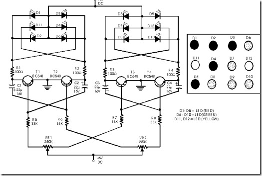 simple circuit of flashing dancing led light citcuit