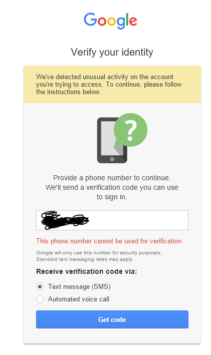 Unable to verify account with phone number - Βοήθεια Gmail