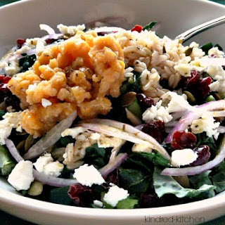 Chopped Kale Salad with Red Lentils, Rice and Feta.