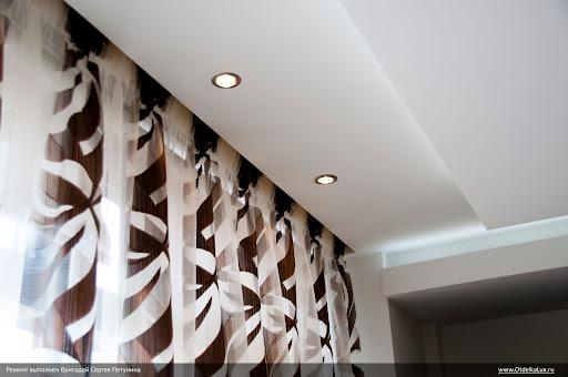 Гардины для штор, спрятанные за ГК потолок