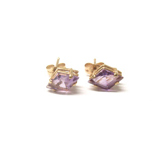 14K Gold and Amethyst Stud Earrings