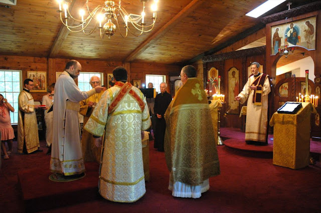 Vladyka is first vested in the vestments of the priest.