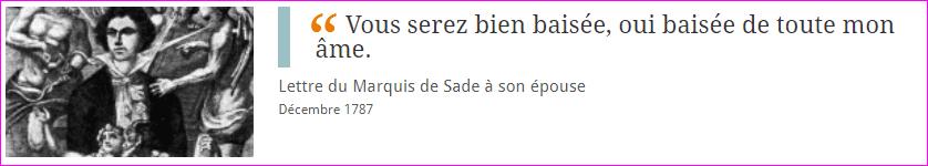 Lettre du Marquis de Sade à son épouse