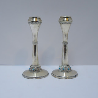 Silver & Turquoise Candle Sticks