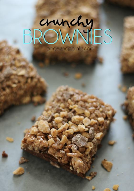 Crunchy Brownies at GingerSnapCrafts.com #brownies #recipes
