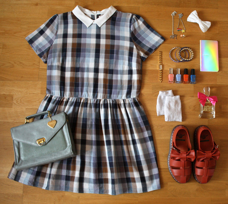 check collared summer dress fashion outfit flat lay from the high street