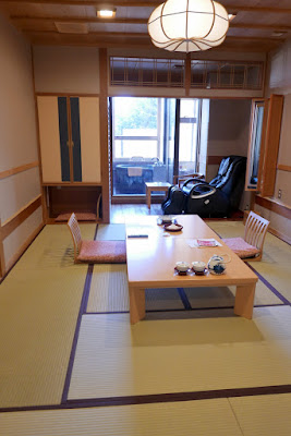 Looking into our main room from the sliding door at our ryokan Wakakusa no Yado Maruei