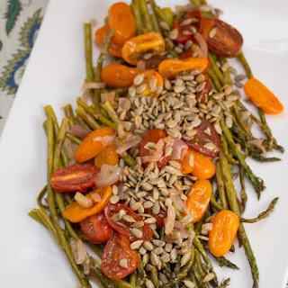 Rosemary Roasted Asparagus + Tomatoes with Toasted Sunflower Seeds