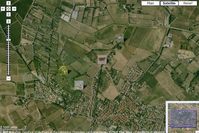 Localisation des photos au Nord-Ouest de Bages (le long de l'agouille)