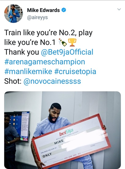 Bbnaija: Mike Receives His Arena Games' Champion's Reward