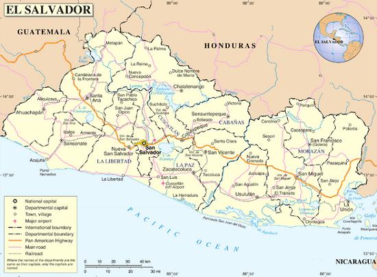 Mapa político de El Salvador