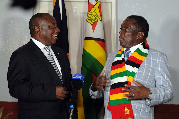 President Cyril Ramaphosa and President Emmerson Mnangagwa during a door stop after their official talks in Harare, Zimbabwe. Picture: SIYABULELA DUDA
