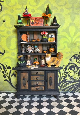19th day miniatures works in progress dollhouse miniature halloween witch cabinet with cat