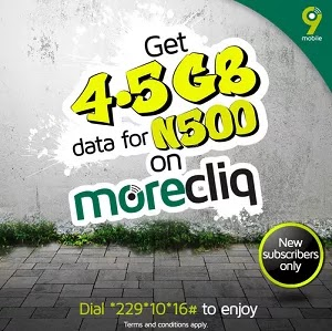 HOT: How To Get 9Mobile 4.5GB for N500 And 1.5GB for N200 MoreCliq Cheap Data