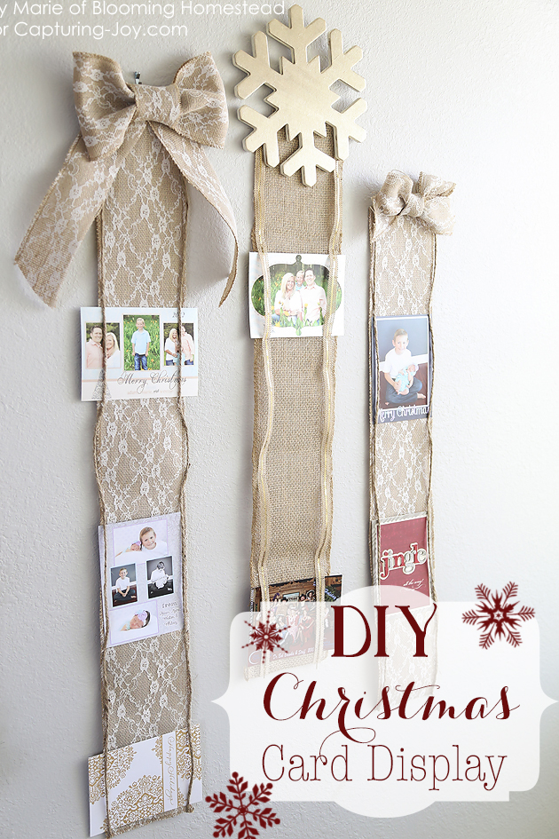 Ribbon Card Holder: These 25 DIY Christmas Card Holders - That Double As Festive Decor will allow you to beautifuly display your cards and will also give you some great decor.