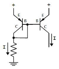Current mirror circuit. The current on the right copies the current on the left.