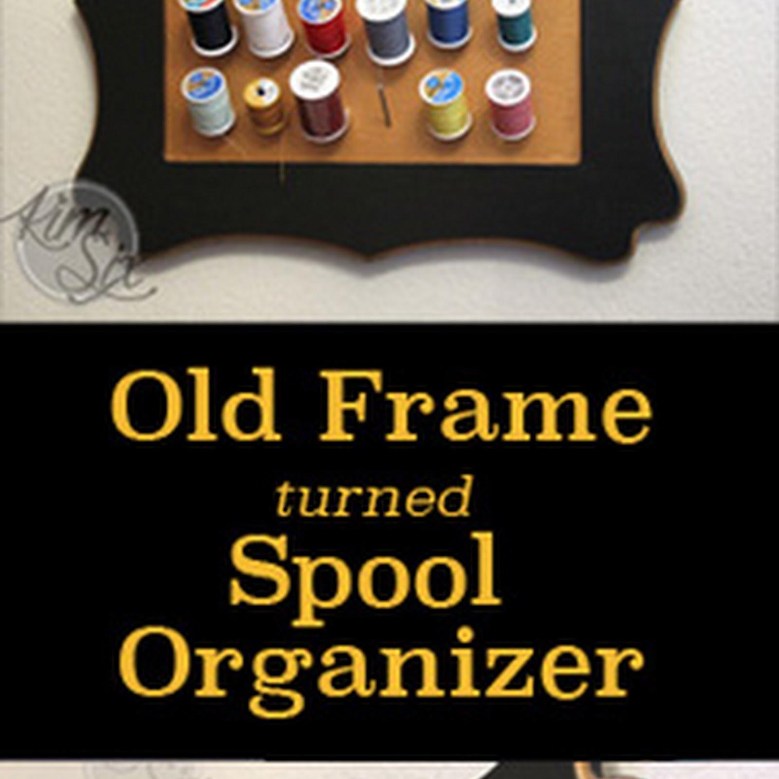 Framed Wall Spool Rack Upcycle