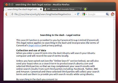 Ubuntu 12.10 aggiunge le note legali nel Dash