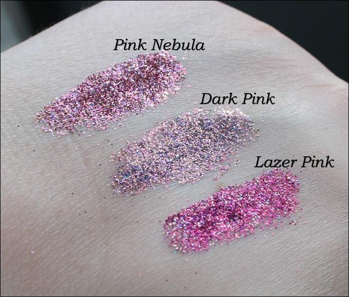 StarGazer Glitter Shaker Swatches Pink Nebula Dark Pink Lazer Pink
