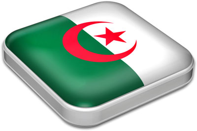 Flag of Algeria with metallic square frame