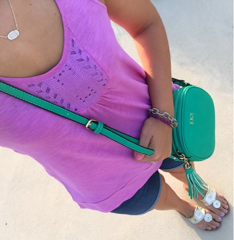 kendra scott, preppy style, monogram bag, jack rogers