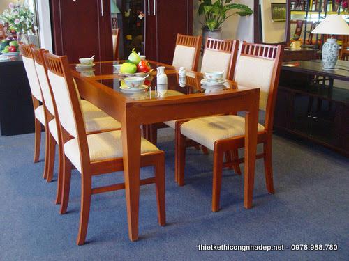 Ghế phòng ăn đẹp bọc da phần tiếp xúc 6 ghế