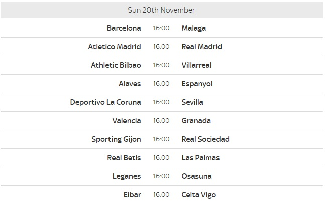 spanish la liga fixtures this weekend