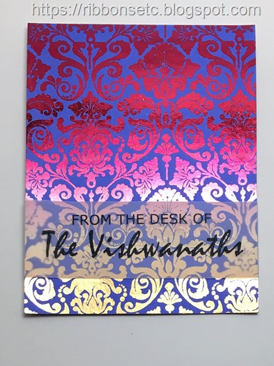 Card with foiled damask background and sentiment printed on vellum