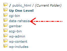 Klik pada folder yang akan Anda atur halaman indexnya