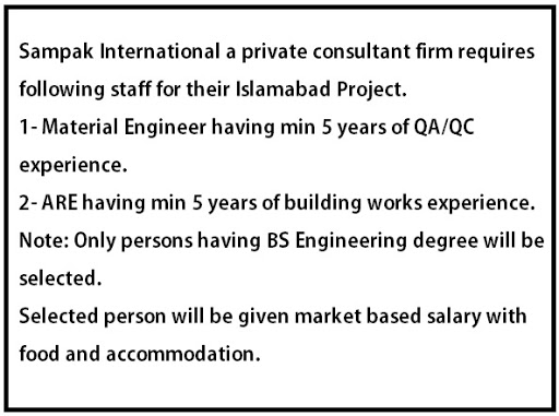 Civil Engineering Jobs In Sampak Consultant Islamabad