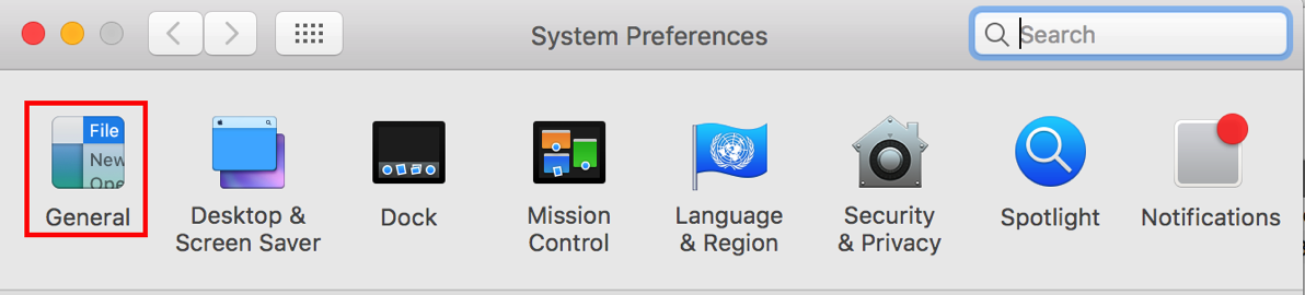 4 General Preferences highlighted