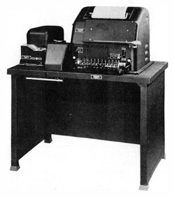 A Model 19 Teletype. Image from BuShips Electron, 1945.